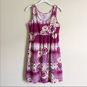 SONOMA / purple & white floral tank dress / medium